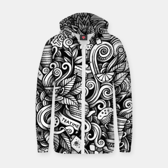 Thumbnail image of Tea time doodle Cotton zip up hoodie, Live Heroes