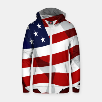 Thumbnail image of American Flag On Red Cotton zip up hoodie, Live Heroes