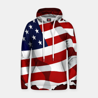 American Flag On Red Cotton hoodie obraz miniatury