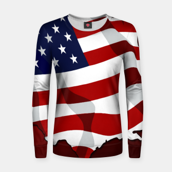American Flag On Red Woman cotton sweater obraz miniatury