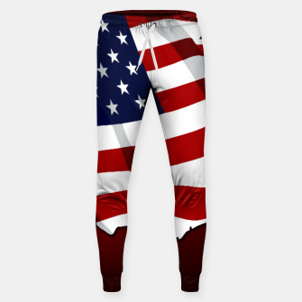 American Flag On Red Cotton sweatpants obraz miniatury