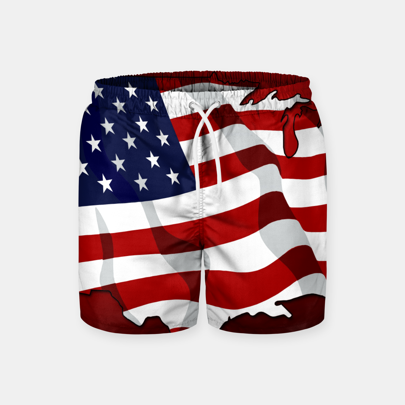 Zdjęcie American Flag On Red Swim Shorts - Live Heroes