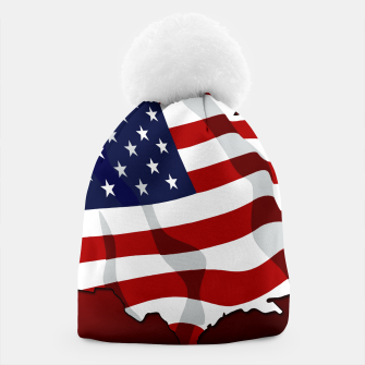 Miniaturka American Flag On Red Beanie, Live Heroes
