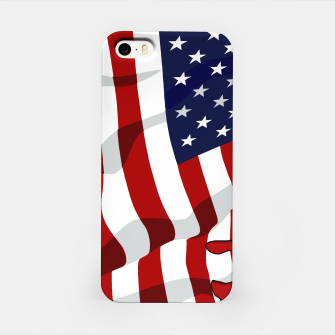 Miniatur American Flag On Red iPhone Case, Live Heroes