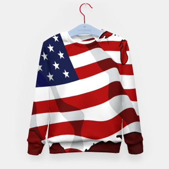 American Flag On Red Kid's sweater obraz miniatury
