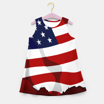 American Flag On Red Girl's summer dress obraz miniatury