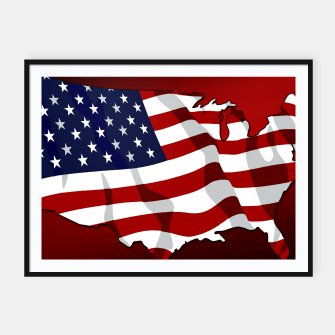 American Flag On Red Framed poster obraz miniatury