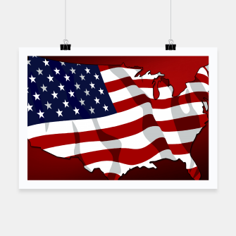 American Flag On Red Poster obraz miniatury