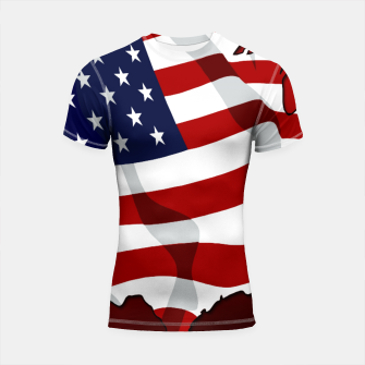 American Flag On Red Shortsleeve rashguard obraz miniatury