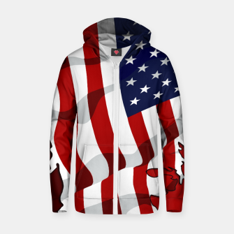 Miniaturka American Flag On Red Cotton zip up hoodie, Live Heroes