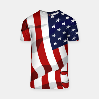 Miniaturka American Flag On Red T-shirt, Live Heroes