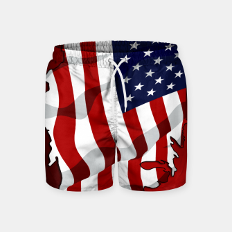American Flag On Red RL270 Swim Shorts obraz miniatury