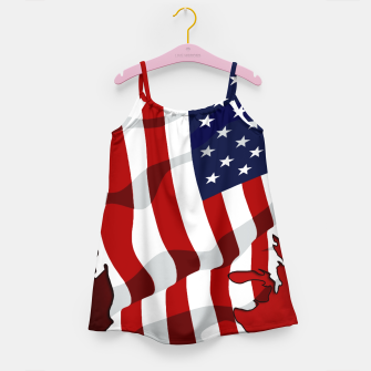 Miniaturka American Flag On Red RL270 Girl's dress, Live Heroes