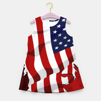 Miniaturka American Flag On Red RL270 Girl's summer dress, Live Heroes
