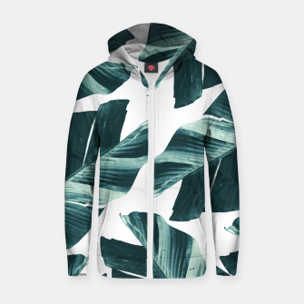 Thumbnail image of Tropical Banana Leaves Vibes #2 #foliage #decor #art Baumwoll reißverschluss kapuzenpullover, Live Heroes