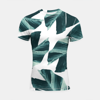Thumbnail image of Tropical Banana Leaves Vibes #2 #foliage #decor #art Shortsleeve rashguard, Live Heroes