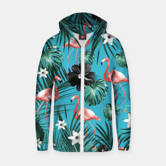 Thumbnail image of Tropical Flamingo Flower Jungle #2 #tropical #decor #art Baumwoll reißverschluss kapuzenpullover, Live Heroes