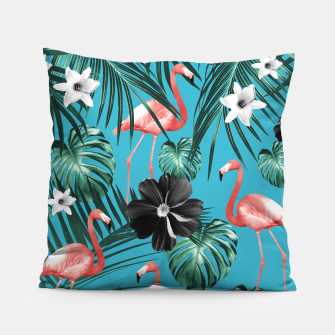 Thumbnail image of Tropical Flamingo Flower Jungle #2 #tropical #decor #art Kissen, Live Heroes