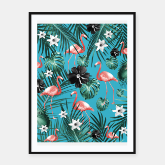 Thumbnail image of Tropical Flamingo Flower Jungle #2 #tropical #decor #art Plakat mit rahmen, Live Heroes