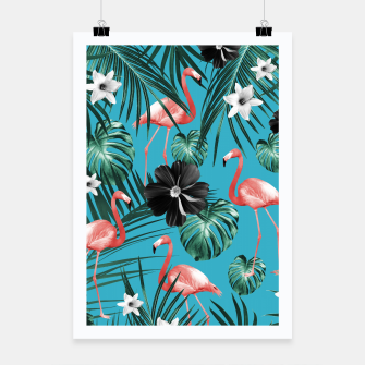 Thumbnail image of Tropical Flamingo Flower Jungle #2 #tropical #decor #art Plakat, Live Heroes