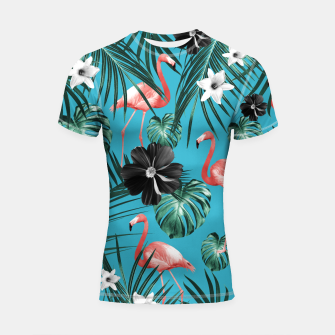 Thumbnail image of Tropical Flamingo Flower Jungle #2 #tropical #decor #art Shortsleeve rashguard, Live Heroes