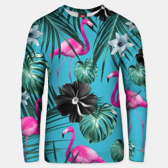 Thumbnail image of Tropical Flamingo Flower Jungle #1 #tropical #decor #art Baumwoll sweatshirt, Live Heroes