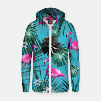 Thumbnail image of Tropical Flamingo Flower Jungle #1 #tropical #decor #art Baumwoll reißverschluss kapuzenpullover, Live Heroes