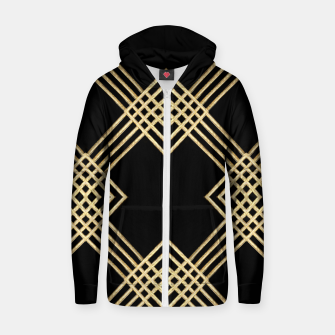 Thumbnail image of Gold on Black Cotton zip up hoodie, Live Heroes