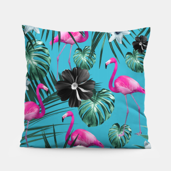 Thumbnail image of Tropical Flamingo Flower Jungle #1 #tropical #decor #art Kissen, Live Heroes