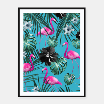Thumbnail image of Tropical Flamingo Flower Jungle #1 #tropical #decor #art Plakat mit rahmen, Live Heroes
