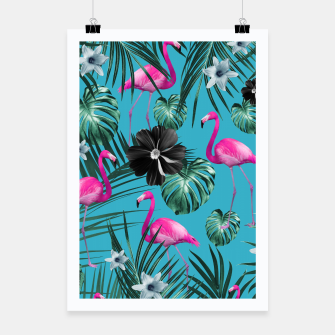 Thumbnail image of Tropical Flamingo Flower Jungle #1 #tropical #decor #art Plakat, Live Heroes