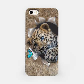 Thumbnail image of Baby Leapard chasing a blue butterfly iPhone Case, Live Heroes
