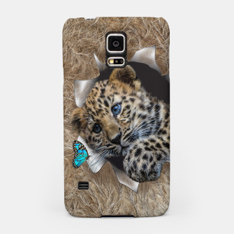 Thumbnail image of Baby Leapard chasing a blue butterfly Samsung Case, Live Heroes