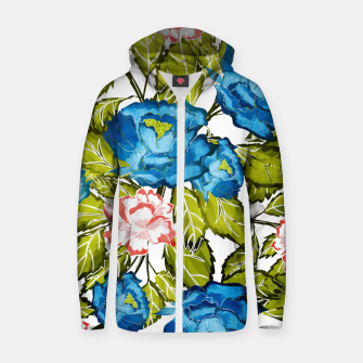 Miniatur Indigo Bloom Cotton zip up hoodie, Live Heroes