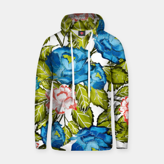 Thumbnail image of Indigo Bloom Cotton hoodie, Live Heroes
