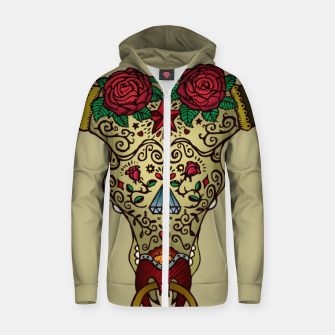 Miniatur El Toro Sugar Skull Cotton zip up hoodie, Live Heroes