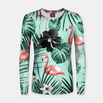 Thumbnail image of Tropical Flamingo Flower Jungle #3 #tropical #decor #art Frauen baumwoll sweatshirt, Live Heroes