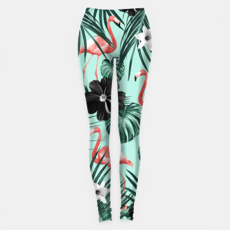 Imagen en miniatura de Tropical Flamingo Flower Jungle #3 #tropical #decor #art Leggings, Live Heroes