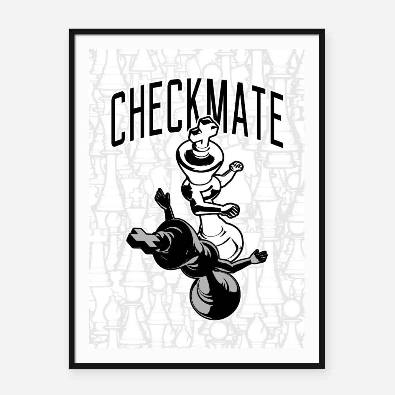 Checkmate Punch Funny Boxing Chess Framed poster, Live Heroes