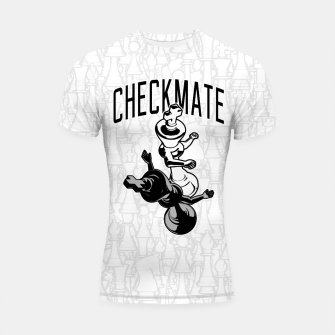 Thumbnail image of Checkmate Punch Funny Boxing Chess Shortsleeve rashguard, Live Heroes