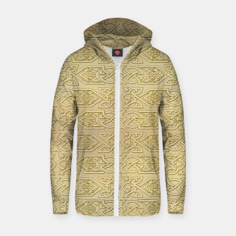 Thumbnail image of Golden Celtic Pattern on canvas texture Cotton zip up hoodie, Live Heroes