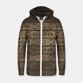 Thumbnail image of Golden Celtic Pattern on wooden texture Cotton zip up hoodie, Live Heroes
