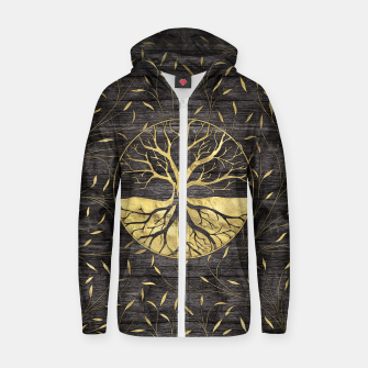 Thumbnail image of Golden Tree of life on wooden texture Cotton zip up hoodie, Live Heroes