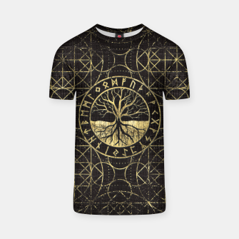 Thumbnail image of Tree of life  -Yggdrasil and  Runes  T-shirt, Live Heroes