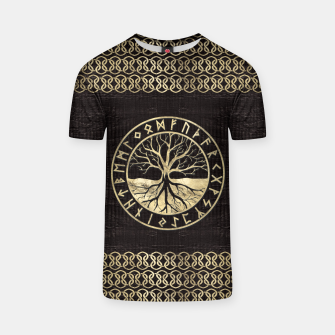 Thumbnail image of Tree of life  -Yggdrasil and  Runes on wooden texture T-shirt, Live Heroes