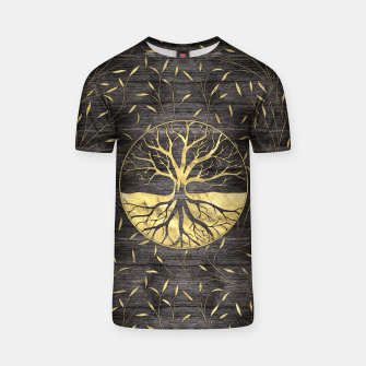 Thumbnail image of Golden Tree of life on wooden texture T-shirt, Live Heroes