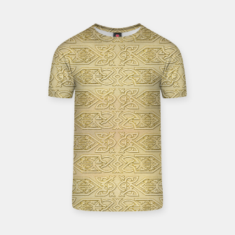 Thumbnail image of Golden Celtic Pattern on canvas texture T-shirt, Live Heroes