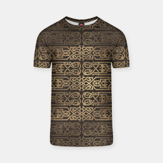 Thumbnail image of Golden Celtic Pattern on wooden texture T-shirt, Live Heroes