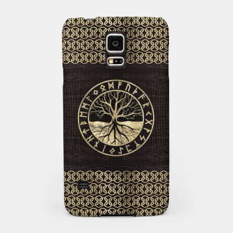 Thumbnail image of Tree of life  -Yggdrasil and  Runes on wooden texture Samsung Case, Live Heroes