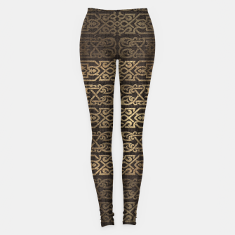Thumbnail image of Golden Celtic Pattern on wooden texture Leggings, Live Heroes